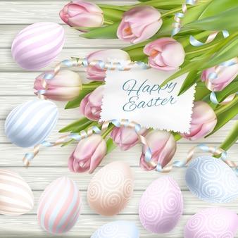 Cartão de ovos de páscoa