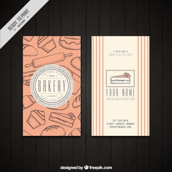 Cartão de padaria com desenhos