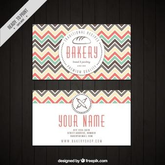Cartão de padaria com linhas zig-zag coloridas