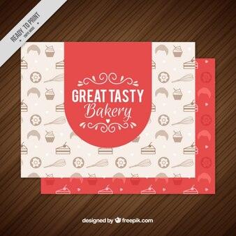 Cartão de padaria vermelho com desenhos no estilo do vintage