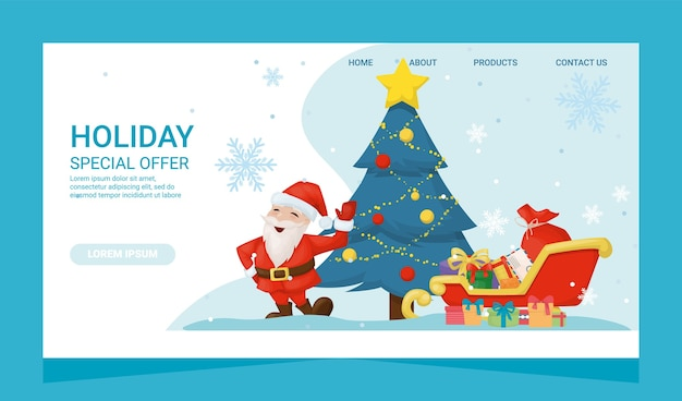 Cartão de página de destino de oferta especial de natal com presentes e papai noel. bandeira de festa de ano novo de saudação. árvore de natal do feriado de inverno da temporada de caixas presentes. postal publicitário de preço surpresa
