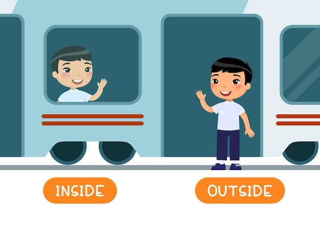 Cartão de palavra educacional com opostos