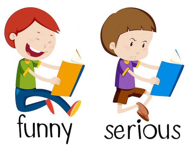 Cartão de palavra oposto para engraçado e serio