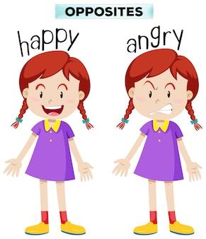 Cartão de palavra oposto por feliz e com raiva