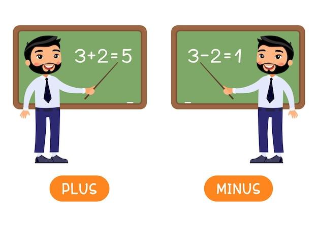 Cartão de palavras educacionais com ilustração dos opostos mais e menos