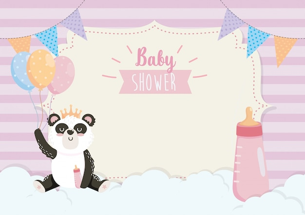 Cartão de panda bonito com mamadeira e balões