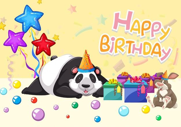 Cartão de panda feliz aniversário
