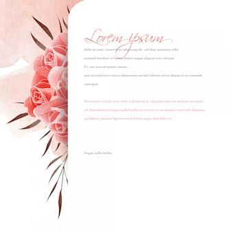 Cartão de pano de fundo rosa aquarela
