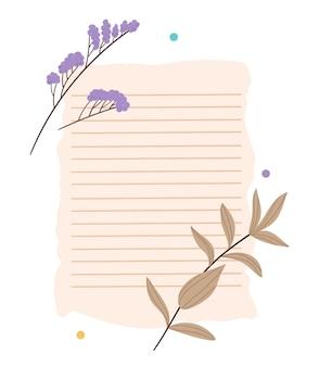 Cartão de papel com borda rasgada e minúsculo com flores secas