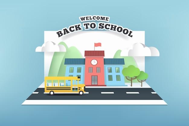 Cartão de papel da escola e ônibus correndo na estrada.