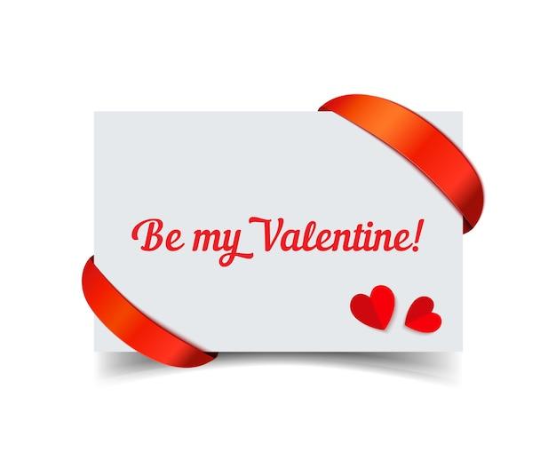 Cartão de papel de dia dos namorados com fita vermelha