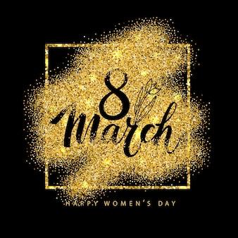 Cartão de parabéns de 8 de março em estilo dourado