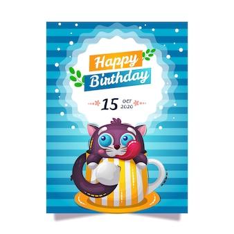 Cartão de parabéns feliz aniversário com um gato