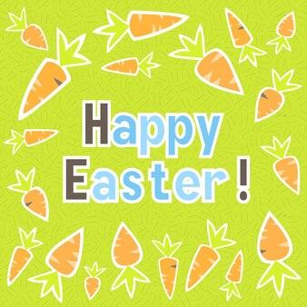 Cartão de páscoa cenouras em um verde. ilustração vetorial