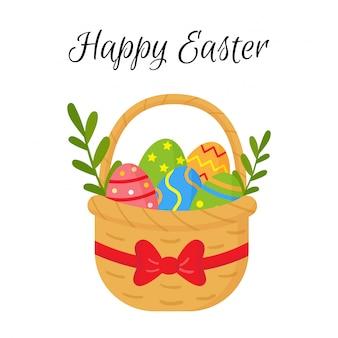 Cartão de páscoa colorido dos desenhos animados com a cesta cheia de ovos.