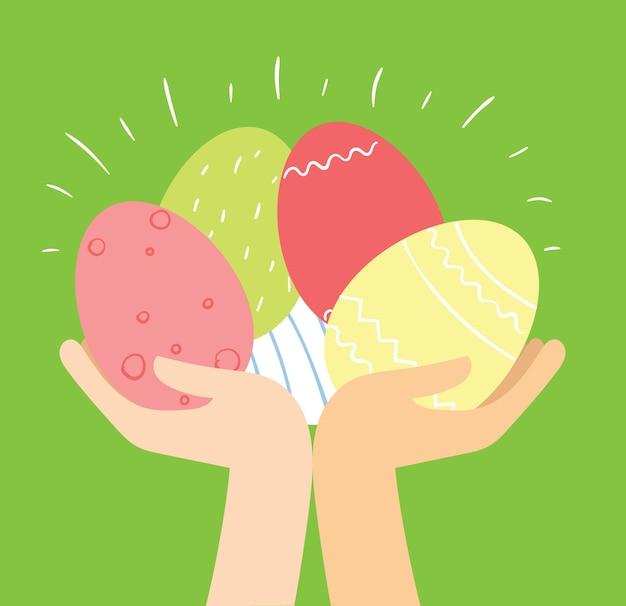 Cartão de páscoa com as mãos segurando os ovos