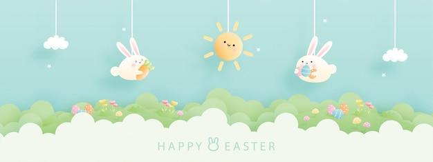 Cartão de páscoa com coelhinho fofo e fundo colorido. ilustração