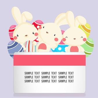 Cartão de páscoa com coelho e ovo fofo