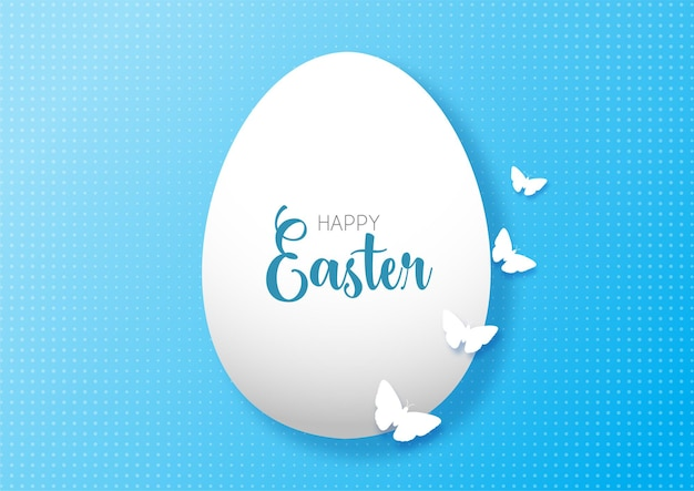 Cartão de páscoa com desenho de ovo e borboletas