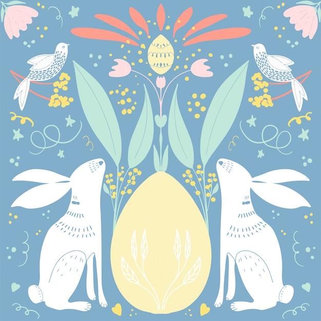 Cartão de páscoa com flores e coelhos