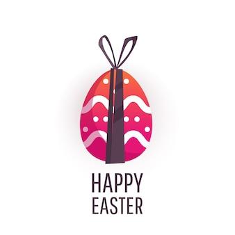 Cartão de páscoa com ovos pintados