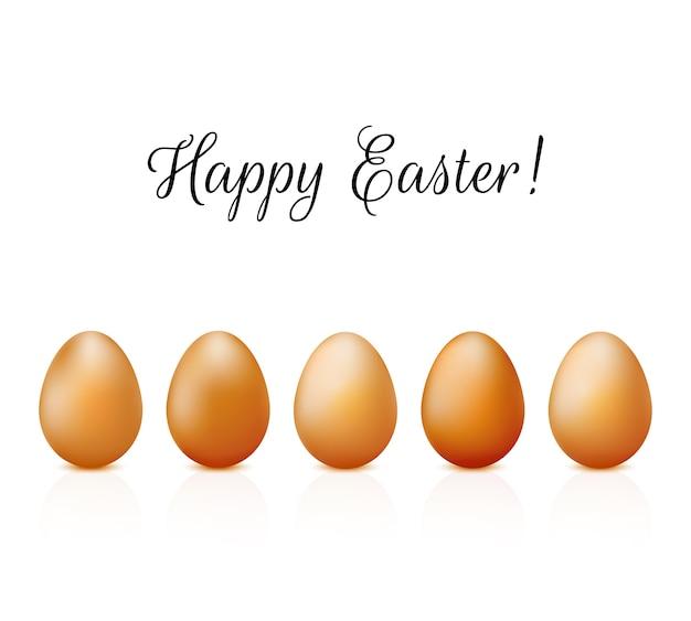 Cartão de páscoa com ovos realistas definido em branco