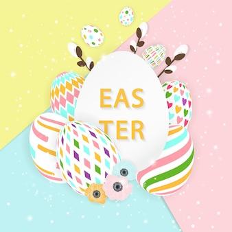 Cartão de páscoa com ovos.