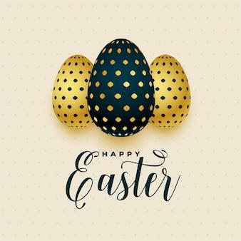 Cartão de páscoa com três ovos de ouro
