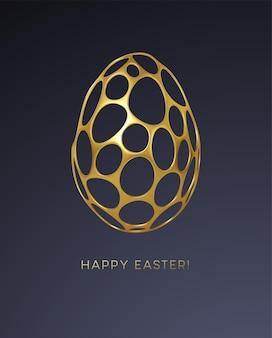 Cartão de páscoa com uma imagem de um ovo de páscoa em um padrão de grade 3d realista orgânico dourado. decoração de joias. ornamento de luxo. ilustração vetorial eps10