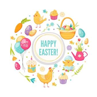 Cartão de páscoa dos desenhos animados com bolo de balões de frango e ovos