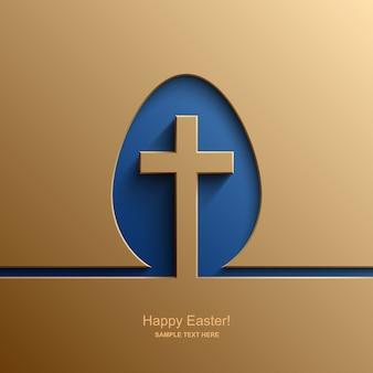 Cartão de páscoa em forma de ovo com a imagem de uma cruz cristã, fundo de páscoa.