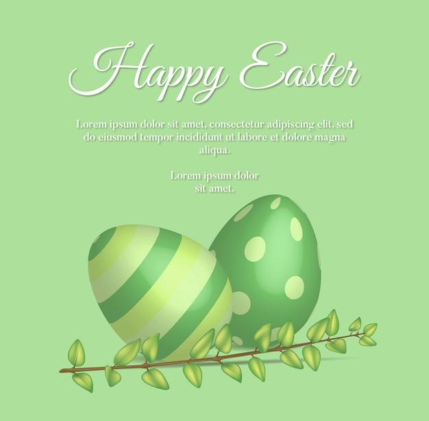 Cartão de páscoa feliz com galho de buxo e ovos