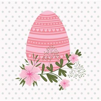 Cartão de páscoa feliz com ovo pintado e flores