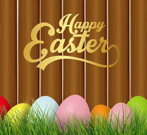 Cartão de páscoa feliz com ovos coloridos na grama