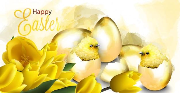 Cartão de páscoa feliz com ovos de ouro