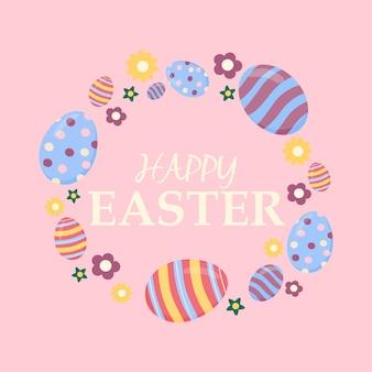 Cartão de páscoa feliz com ovos e ilustrações vetoriais de texto em um fundo rosa. ovos de páscoa em forma de coroa de flores em um círculo dentro do texto com parabéns