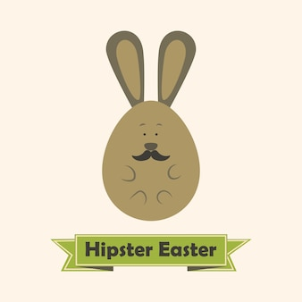 Cartão de páscoa hipster com coelho com bigode. ilustração de estilo simples