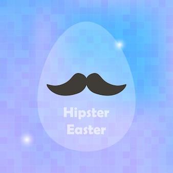 Cartão de páscoa hipster com ovo e fundo blured. cartão de férias turva fundo roxo. ilustração vetorial