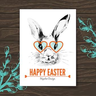 Cartão de páscoa. hipster esboçar coelho da páscoa em aquarela. fundo de madeira de ilustração desenhada à mão