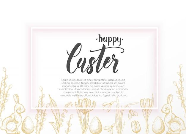Cartão de páscoa primavera com mão desenhada ovo de páscoa, coelho de chocolate, lírios do vale, tulipa, floco de neve, açafrão, salgueiro. espaço para texto como exemplo. mão-lettering feliz páscoa
