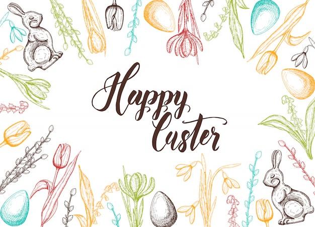 Cartão de páscoa primavera com mão desenhada ovo de páscoa, coelho de chocolate, lírios do vale, tulipa, floco de neve, açafrão, salgueiro. mão feita letras-feliz páscoa