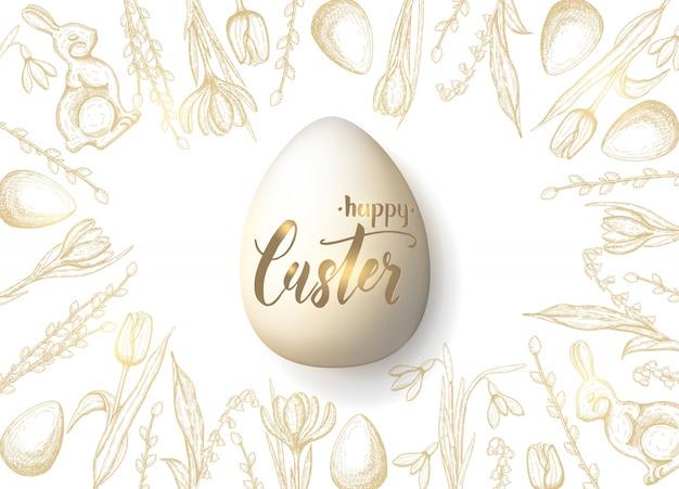 Cartão de páscoa primavera com mão desenhada ovo de páscoa dourado, coelho de chocolate, lírios do vale, tulipa, floco de neve, açafrão, salgueiro. ovo realista. mão-lettering feliz páscoa