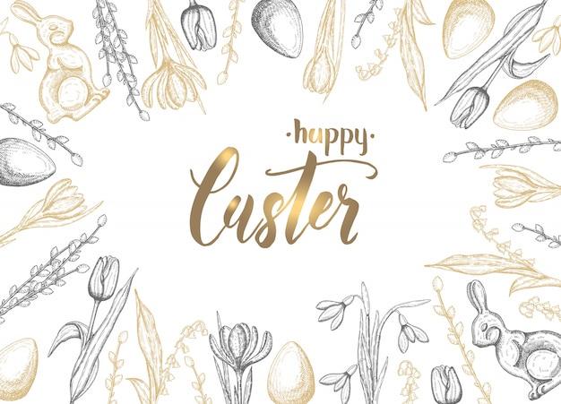 Cartão de páscoa primavera com mão desenhada ovo de páscoa preto dourado, coelho de chocolate, lírios do vale, tulipa, floco de neve, açafrão, salgueiro. mão-lettering feliz páscoa