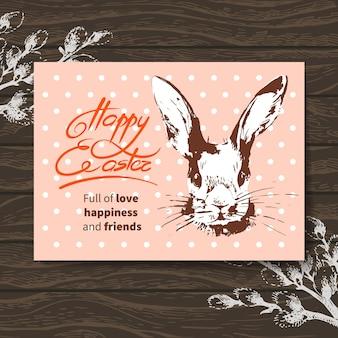 Cartão de páscoa retrô. desenho de coelho de páscoa em aquarela. fundo de madeira de ilustração desenhada à mão