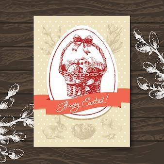 Cartão de páscoa vintage, desenho de mão desenhada com fundo de madeira