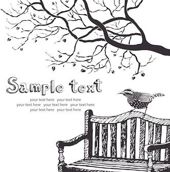 Cartão de pássaro e árvore