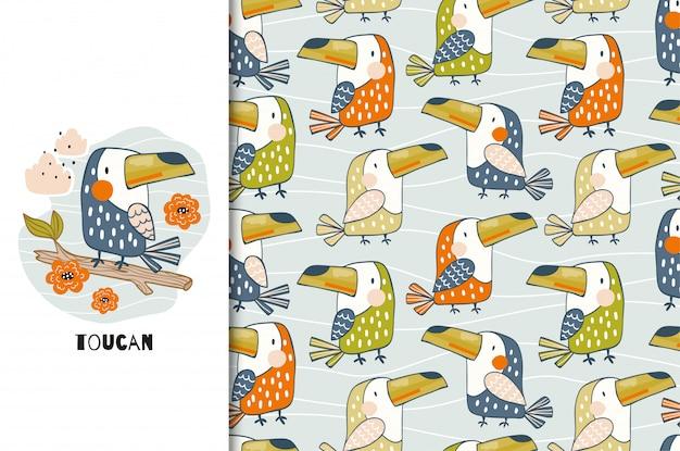 Cartão de pássaro tucano bonito dos desenhos animados e padrão sem emenda. mão desenhada ilustração animal