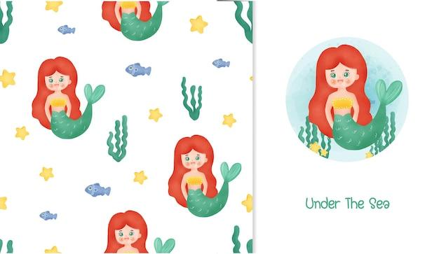 Cartão de pequena sereia e padrão sem emenda.