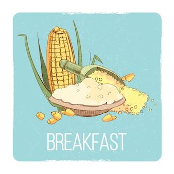 Cartão de pequeno-almoço de mingau de milho - conceito de pequeno-almoço sem glúten