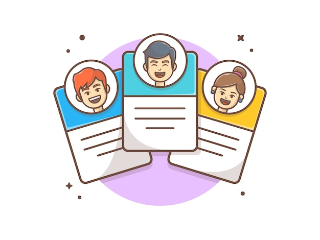 Cartão de perfil de equipe com personagem icon ilustração